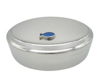 Blue Fish Pendant Oval Trinket Jewelry Box