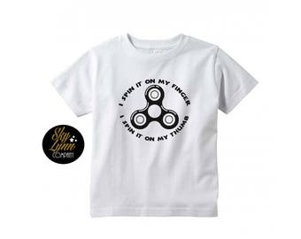 Fidget Spinner Unisex Shirt or Bodysuit Black or White Fun Printed Tee