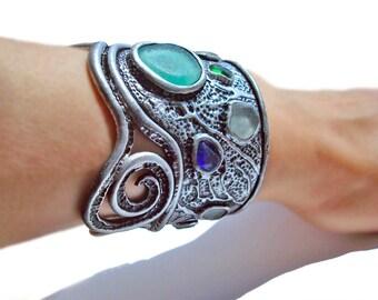 Sea Glass Bracelet. Multicolor Sea Glass Framed In A Clay Sculpture. Large Bracelet.