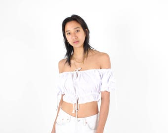 Adorable OFF SHOULDER White Cotton DOLL Puff Sleeve Super Cropped Crop Top