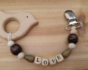Natural Wooden Teether Clip - Love