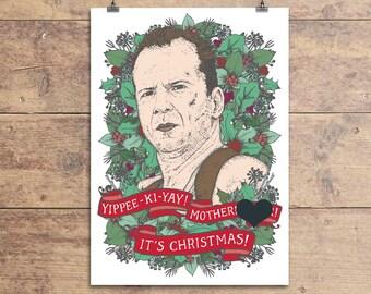 Die Hard Christmas Card - Bruce Willis Swearing Xmas Greeting Card - John McClane Die Hard Christmas Card - Funny Card