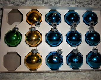 "Vintage 13 Blue - Green - Gold 1 3/4"" Christmas Ornaments by Holly made in USA"