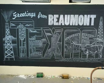 Hand drawn chalk look mural for your restaurant - smudge resistant - ships rolled on black canvas - easy install - restaurant mural artwork