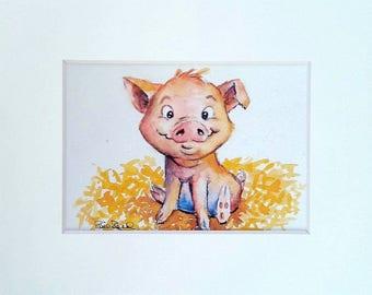 This Little Piggy - art print barnyard animal cute piglet children gift