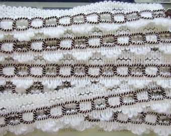 German Vintage Off-White and Brown Rustic Fabric Border Trim Ornamental Trimmings for Lampshades Curtains, Supply