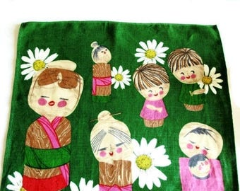SUMMER SALE- Lovely Vintage Linen Printed Dish Towel with Japanese Dolls Kokeshi, Instant Retro Asian Home Decor, Wall Hanging