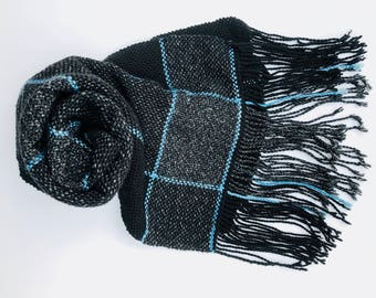 "Blue Grey Black Hand Woven Scarf - ""Salt, Pepper & Curacao"" - Everyday Scarf - Gift - Large Plaid - Large handwoven scarf - Twisted Fringe"