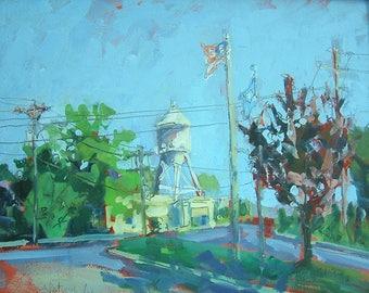 ORIGINAL Oil Painting-Plein Air Landscape-Impressionist-American Street-Modern Art-Made in USA-Affordable Wall Art-Home Decor-Interior decor