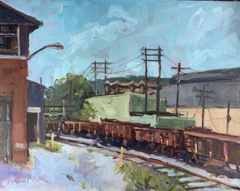 Original art-Oil Painting-Plein Air-Landscape art-Luken Steel-Train-Industrial plant-Factory-Affordable wall art-Home decor-Impressionist