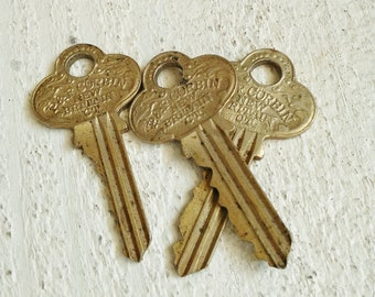 3 Vintage P & F Corbin, New Britain, CT Keys