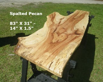 FINISHED Spalted Pecan Live Edge Desk Table Top, Breakfast Table, Natural Edge Work Station, Wooden Table, Artistic Bar Top, Island Top 9038