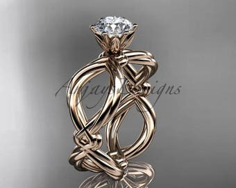 14kt rose gold twisted rope engagement ring RP8192