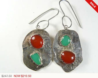 Red Mexican Fire Opal and Green Marlbourgh Chrysoprase designer earrings set in reticulated sterling silver. Handmade 18 gauge ear wires.