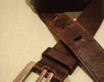 Vintage 1990s Distressed SONOMA Dark Brown Leather Bekt