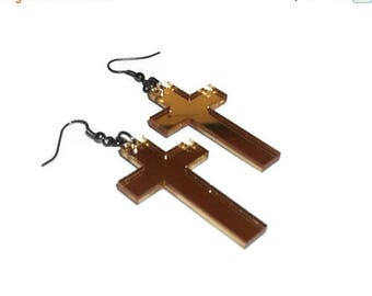 Cross Earrings, Laser Cut Acrylic Metallic Gold