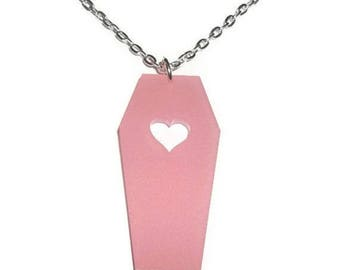 Pink Coffin Necklace, Frosted Pink Acrylic Heart Shape Creepy Horror Necklace