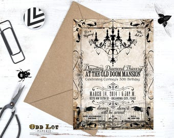 Murder Mystery Dinner Party Invitation Vintage Party Invitation Printable Birthday Invite Halloween party Invitation Digital Printable DIY