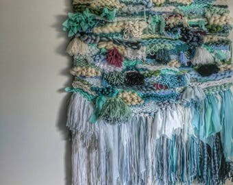Chasing Waterfalls blue, green, white and fuscia LARGE wall hanging / weave / woven textile