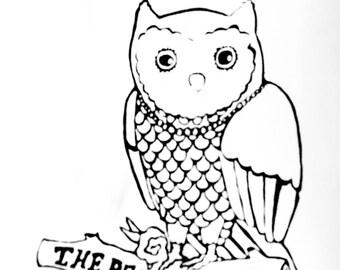 Mens T-shirt - Screen Printed - The Pearly Owl, Handmade