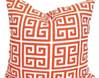 OUTDOOR Pillow Sale.Greek Key.14x14 inch.Decorative Pillow Cover.Housewares.Home Decor. Orange Orange Chevron..Indoor.Outdoor.Cushion