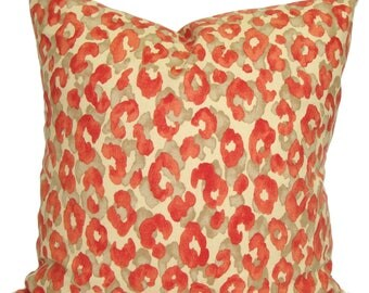 CORAL Pillow Sale, 24, 22 or 20 inch Coral Pillow, Leopard Print Pillow Cover, Decorative Pillow, Coral Throw Pillow, Pillow, Animal Print