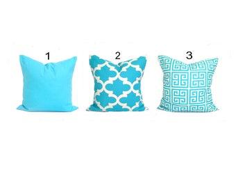 Blue Pillow Cover, ALL SIZES, Blue Throw Pillow Covers, Decorative Pillow, Home Decor, Solid Blue, Blue Tiles, Blue Greek Key .Blue Cushion