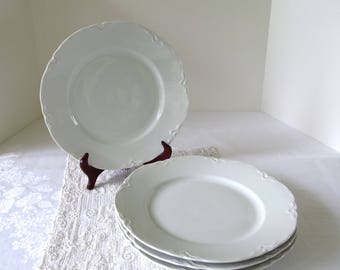 Vintage Scalloped Dinner Plates Embossed (4) Four, Vintage Hutschenreauther White China, White Wedding China,Mix and Match Vintage China