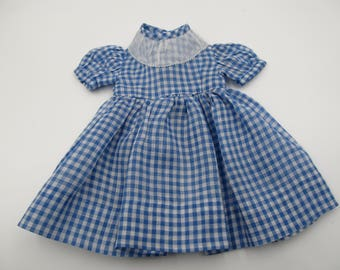 Vintage Handmade Doll Clothes, 1940s Blue Gingham and Lace Handmade Doll Dress Vintage Doll Collectors, Vintage Doll Clothes Collectors