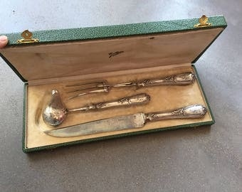 French silver Carving Set, Carving fork, knife and a sauce spoon, Thanksgiving dinner, Christmas dinner, carving set