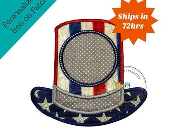 ON SALE NOW Monogrammed patriotic top hat iron-on appplique in red, white, and blue fabric, white stars on blue fabric brim, gray dots band