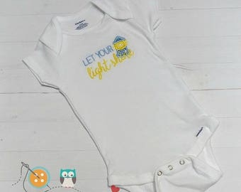 ON SALE NOW Let your light shine baby body suit- embroidered onesie  in blue and in pink-baby shower gift