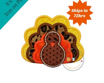Small fall turkey- iron embroidered fabric applique patch embellishment- ready to ship