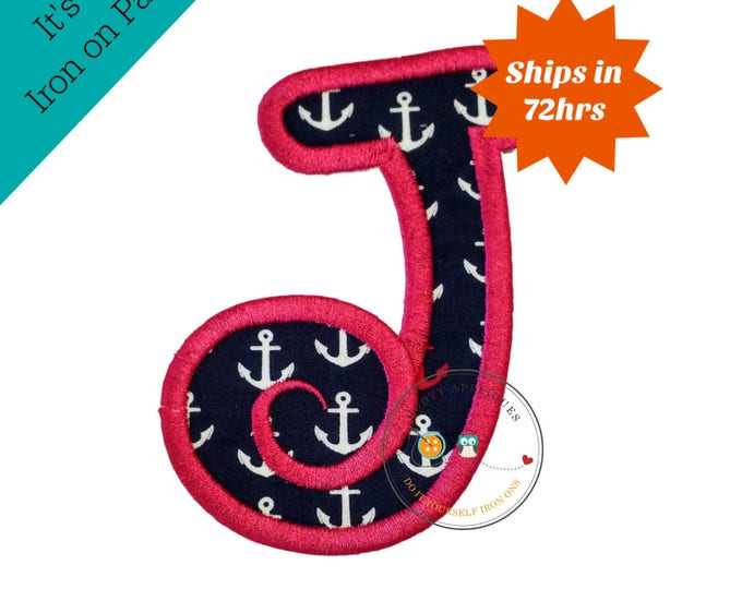 Chunky curls letter J iron on applique, Girls nautical monogram, iron on initial J, Blue and pink monogram letter J, Ready to ship
