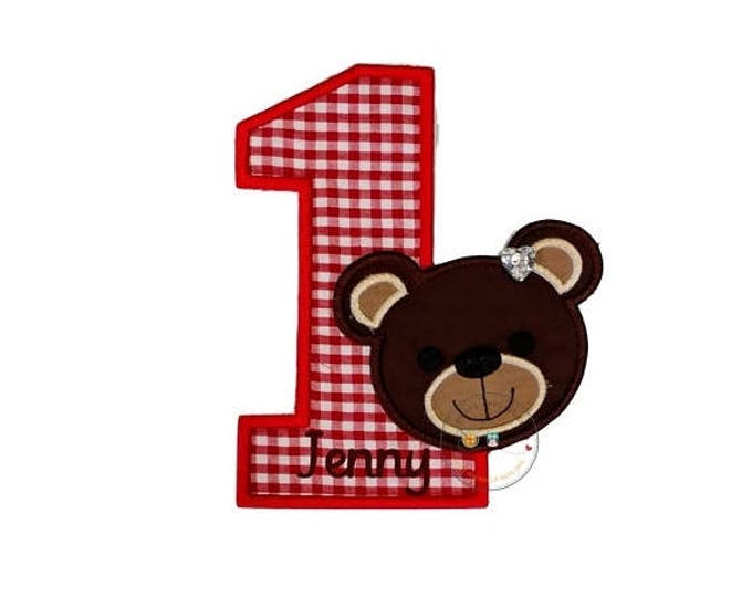Teddy bear red gingham birthday number one