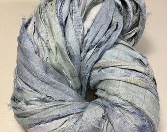 Recycled Sari Silk Ribbon Silver Gray Tassel Supply Sari Wrap Bracelet Eco Gift Wrap Jewelry Felt Knit Crochet Fiber Art Supply