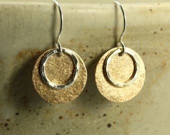 Hammered Bronze Earrings with Sterling Silver Hoops, Sterling Silver Earrings, Hammered Silver Earrings, Silver Hoop Earrings
