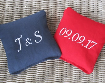 Personalized Wedding Cornhole Game Bags - Initials and Date - Set of 8 Shown in Navy Blue and Red