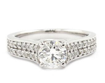 2 Ct GIA Certified Round cut Diamond Engagement Ring 18k White Gold F color, VS1 clarity