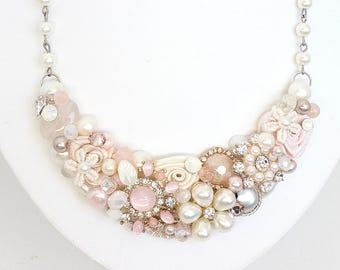 Pink Bridal Necklace- Soft Pink Bridal Bib- Blush Statement Necklace- Blush Bridal Bib- Wedding Necklace- Brass Boheme- Pink Bib Necklace