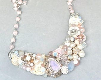 Blush Bridal Necklace- Pink Statement Necklace- Pearl Bridal Necklace- Soft Pink Bib Necklace- Pearl Wedding necklace- Blush Bridal Bib