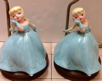 Sweet Blonde Belles Of The Ball Vintage 1950s Plug In Lamps