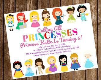 Disney Princess Birthday Party Invitation Download - Disney Princess Invitation - 5 x7 - Print