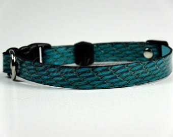 Turquoise Snake Leather Cat Collar - Shaby - Safety Breakaway System