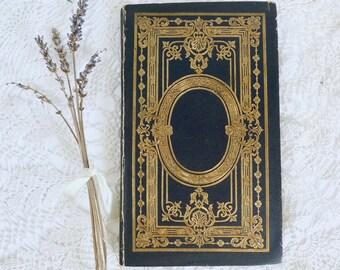 Wedding Vows, Black Guestbook, Unique Journal, Vintage Rebound Blank Book, Printed Wedding Program Idea, Gift for Artist, Memorial Keepsake
