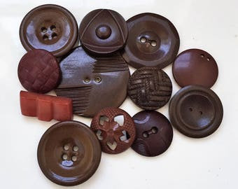 eco friendly recycled shades of brown vintage celluloid and plastic  buttons--mixed lot of 12