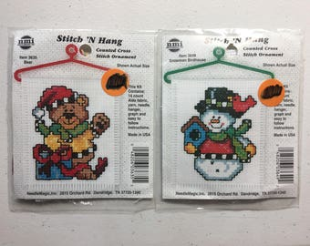 Teddy Bear and Snowman Counted Cross Stitch Kits, Bear & Snowman Birdhouse Stitch n Hang Ornament Kits - Set of 2