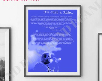 BILL HICKS Quote Poster -  Its Just A Ride -  BLUE Word Art Poster - 11x14 / 16x20 / 20x30 collage art print.