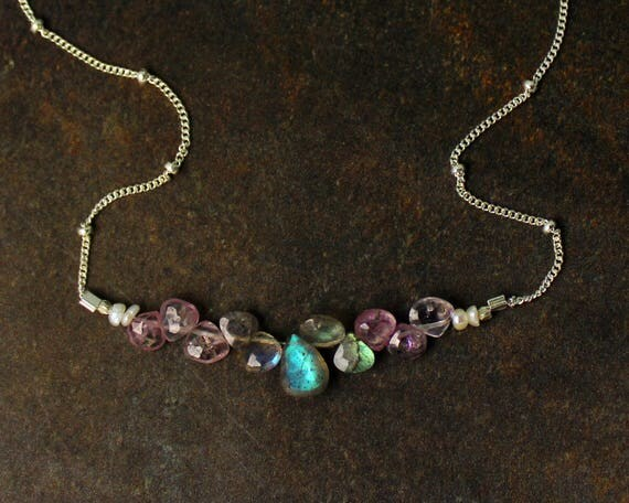 Pink Spinel and Labradorite Necklace. Bridesmaid Gift. Briolette Bar Necklaces.  Multi Gemstone Necklaces.  N2397