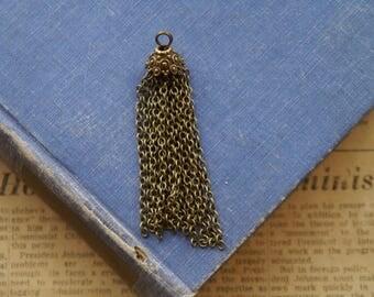 3 pcs Large Bronze Tassel Chain Charms Pendants 67mm  (BC3278)